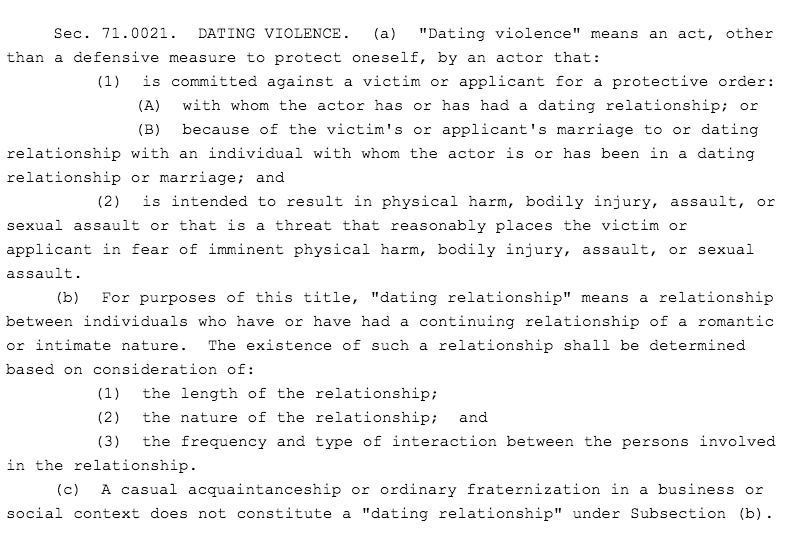 Texas Family Code Section 71.0021 definition of dating relationship for domestic violence