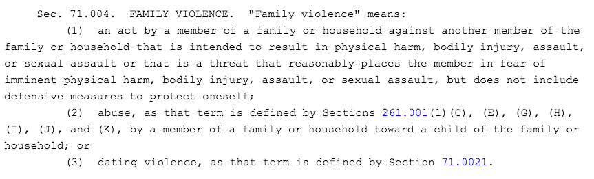 Texas family violence code section 71.004