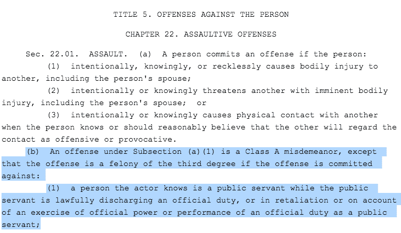 texas penal code for assault of a public servant
