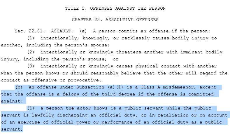 texas penal code for assault of a public servant